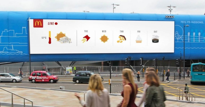 Chiến dịch quảng cáo DOOH dự báo thời tiết theo tuần của McDonald's