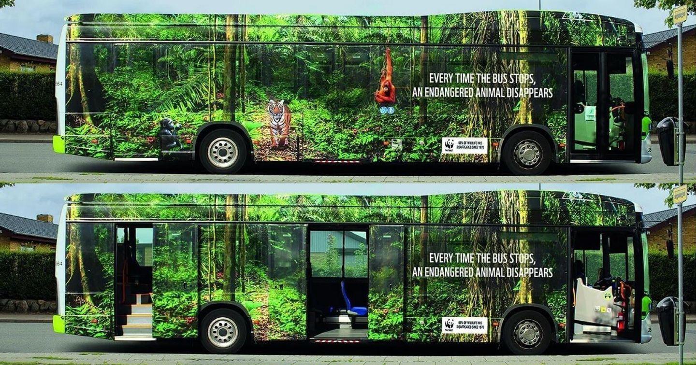Quảng cáo xe bus cảnh báo tốc độ biến mất của các loài động vật có nguy cơ tuyệt chủng