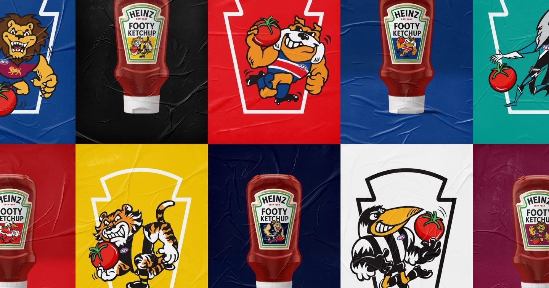 Heinz thay đổi bao bì để tôn vinh linh vật của 18 đội tuyển bóng bầu dục Úc