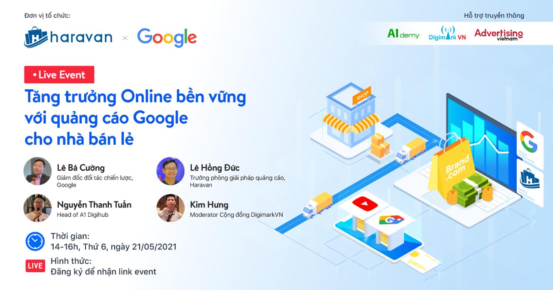 """Live Event:  """"Tăng trưởng Online bền vững với quảng cáo Google cho nhà bán lẻ"""""""