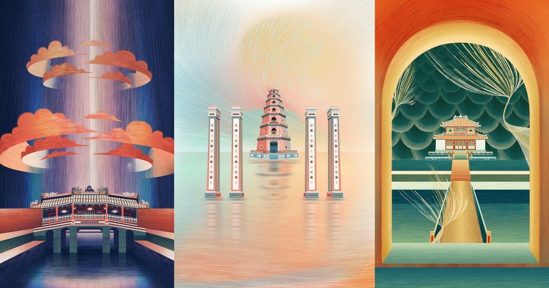 """Vẻ đẹp cuốn hút của 12 di sản kiến trúc Việt Nam trong bộ tranh """"Sợi Mắc Sợi Mành"""""""