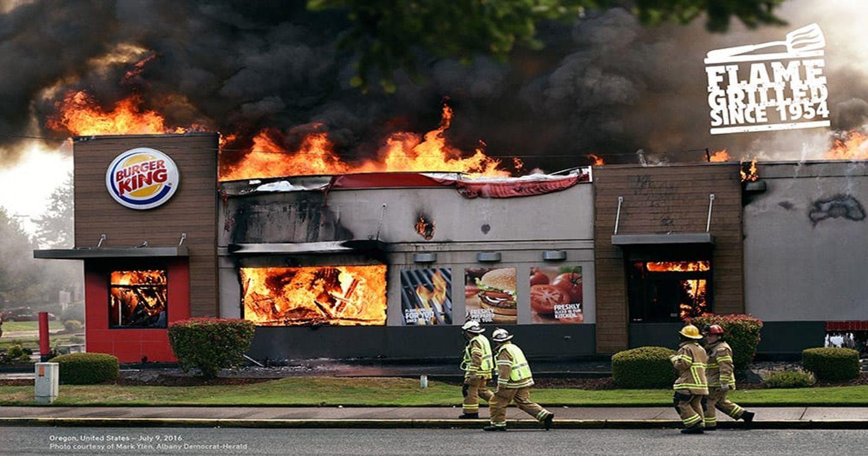 Print Ad sáng tạo của Burger King khi cả nhà hàng chìm trong biển lửa