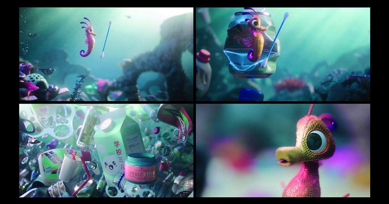"""Đoạn hoạt hình truyền thông điệp môi trường, lấy cảm hứng từ bức ảnh : """"Chú cá ngựa nhảy cùng chiếc tăm bông"""""""